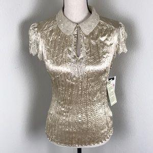 NWT Peter Nygard 100% Silk Gold Blouse Size 10